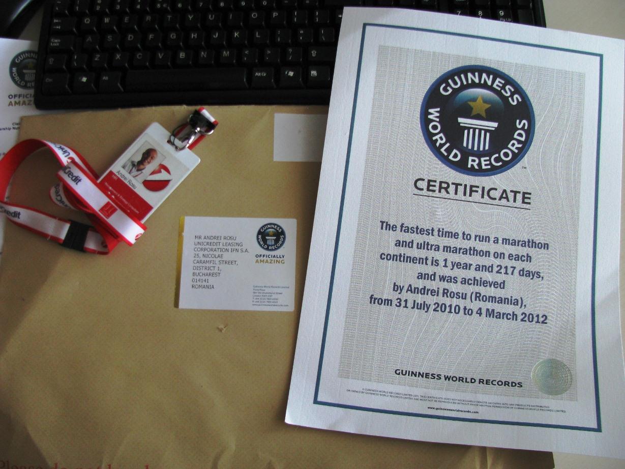 Certificat Guinness Book